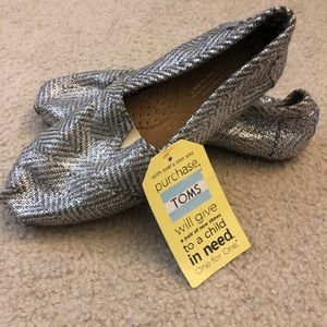 Silver Woven Toms - Brand New!